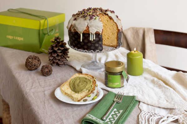 Panettone Linea Oro Fiasconaro mit Pistazien und Crème